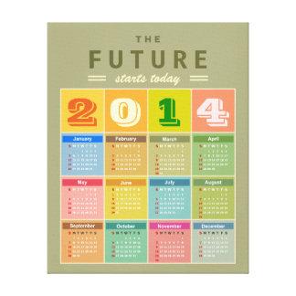 Calendario retro 2014 - el Año Nuevo comienza hoy Lona Envuelta Para Galerías