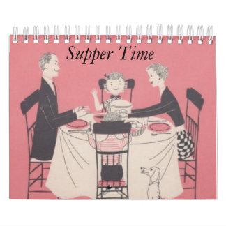 Calendario retro de la familia con subtítulos