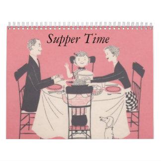 Calendario retro de la familia