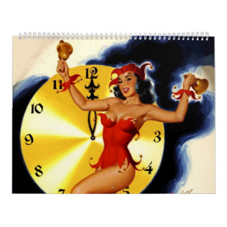 Calendario retro de los chicas Pin-para arriba 201