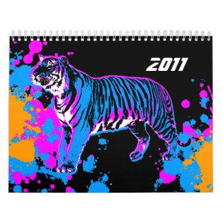 Calendario retro del estilo 2011 del tigre 80s de