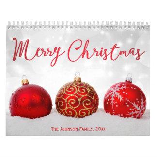 Calendario rojo de la foto de las Felices Navidad