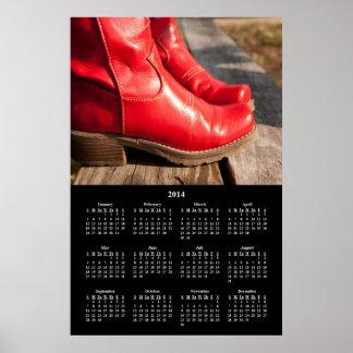 Calendario rojo de lujo de 2014 botas de vaquero poster