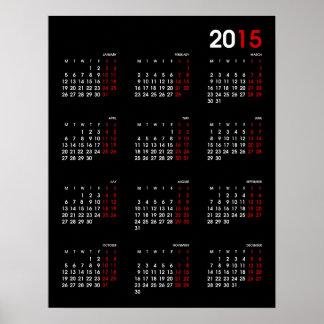 Calendario rojo y blanco negro moderno del ~ 2015 poster
