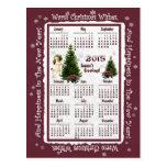 Calendario rosado del niño y del Poinsettia 2015 Postal