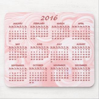 Calendario rosado del remolino 2016 tapete de ratones