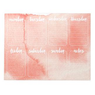 Calendario semanal del cuaderno de notas del blocs de papel