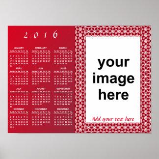 Calendario simplemente de encargo 2016 de la foto póster