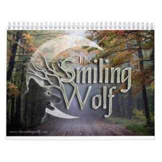 Calendario sonriente de la fotografía del lobo