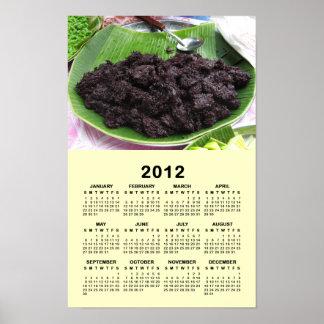 Calendario tailandés 2012 del arroz del negro del  posters