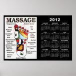 Calendario tailandés del masaje 2012 del pie poster