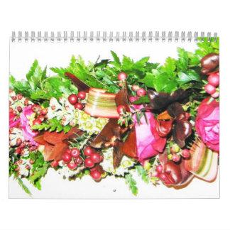 Calendario temático hawaiano de los leus a partir