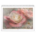 Calendario texturizado de los rosas para 2014