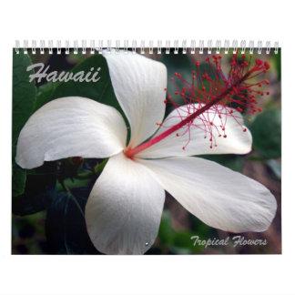 Calendario tropical de las flores de Hawaii