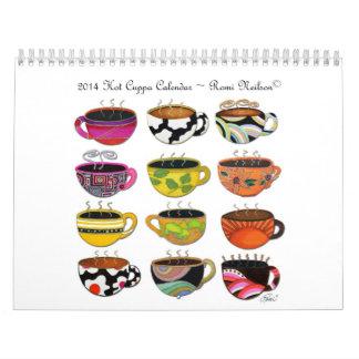 Calendario único colorido caprichoso de las tazas
