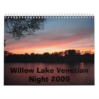 Calendario veneciano de la noche del lago willow