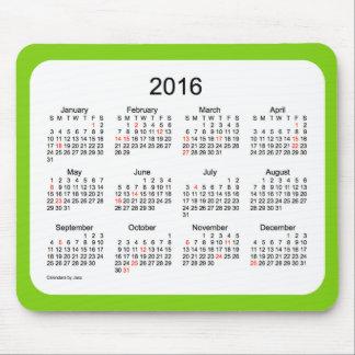 Calendario verde del día de fiesta 2016 por el alfombrillas de ratones