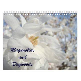 Calendarios de las flores del árbol de las magnoli
