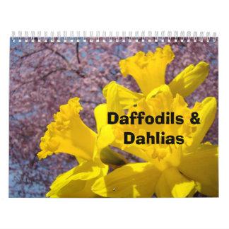 Calendarios de los narcisos y de las dalias floral