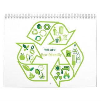 Calendarios verdes ambientalmente respetuosos del