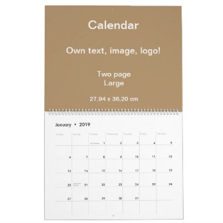 Calender Two Page Large uni Gold Calendar