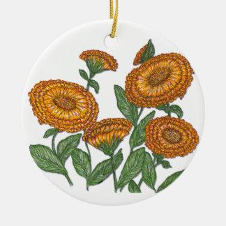 Calendula Double-Sided Ceramic Round Christmas Ornament