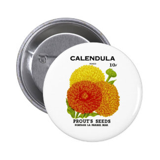 Calendula Vintage Seed Packet Button