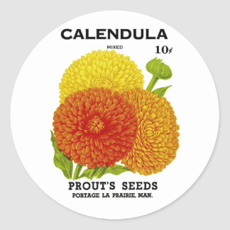 Calendula Vintage Seed Packet Classic Round Sticker