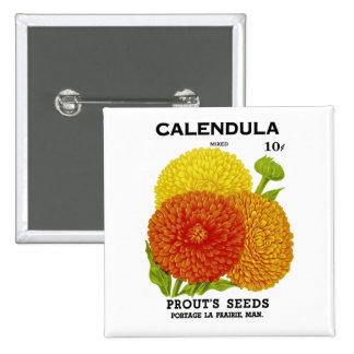 Calendula Vintage Seed Packet Pinback Button