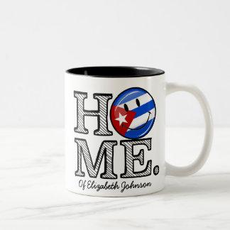 Calentador sonriente de la casa de la bandera del taza de dos tonos