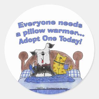 Calentadores de la almohada pegatina redonda