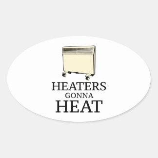 Calentadores que van a calentar pegatina ovalada