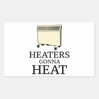 Calentadores que van a calentar pegatina rectangular