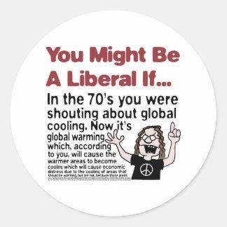 Calentamiento del planeta contra el enfriamiento pegatina redonda