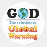 Calentamiento del planeta de dios pegatina redonda
