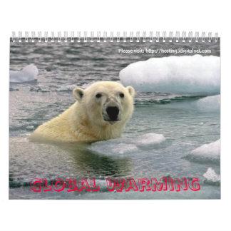 Calentamiento del planeta del cuidado calendario de pared