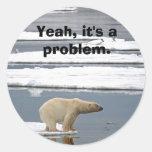 Calentamiento del planeta etiqueta redonda