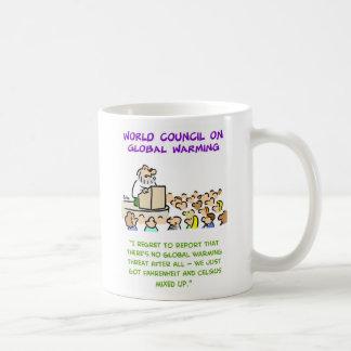 calentamiento del planeta mezclado para arriba tazas de café