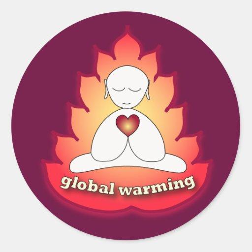 calentamiento del planeta pegatina redonda