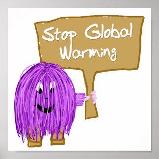 Calentamiento del planeta púrpura de la parada impresiones