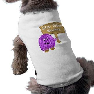 Calentamiento del planeta púrpura de la parada playera sin mangas para perro