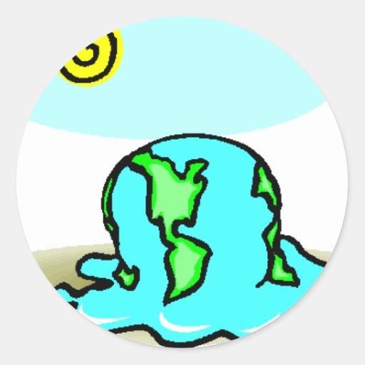 ¡Calentamiento del planeta! Separe la palabra Pegatinas Redondas