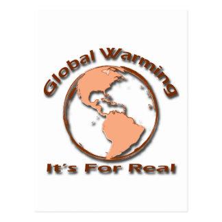 Calentamiento del planeta su para el marrón real postal