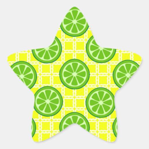 Cales brillantes de la fruta cítrica del verano en pegatinas forma de estrellaes personalizadas