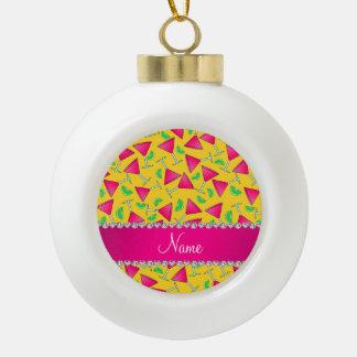 Cales rosadas amarillas conocidas de encargo del adorno de cerámica en forma de bola
