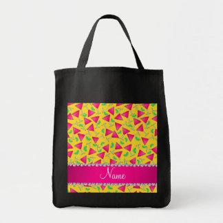 Cales rosadas amarillas conocidas de encargo del bolsa tela para la compra