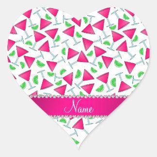 Cales rosadas blancas conocidas de encargo del pegatina en forma de corazón