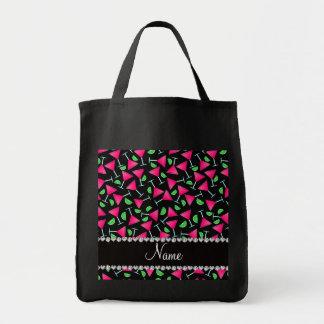 Cales rosadas negras conocidas de encargo del bolsa tela para la compra