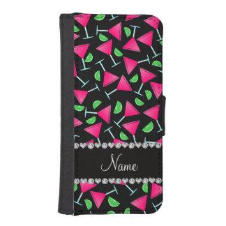 Cales rosadas negras conocidas de encargo del funda billetera para teléfono