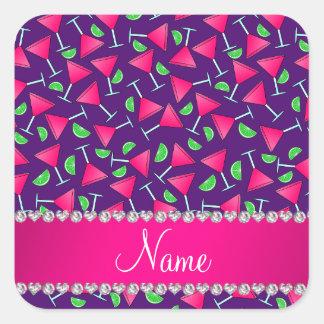 Cales rosadas púrpuras conocidas de encargo del pegatina cuadrada